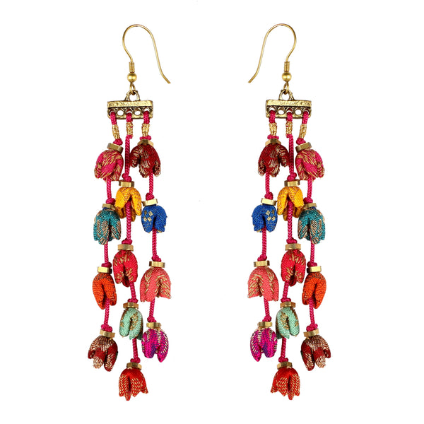Brocade Multi Teen Ladi Mogra Earrings