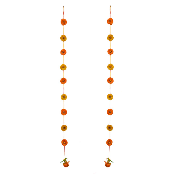 Genda Phool Silk Hanging Latkan - set of 2