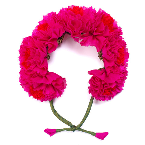 Fuschia Genda Phool Gajra Hair Accessory