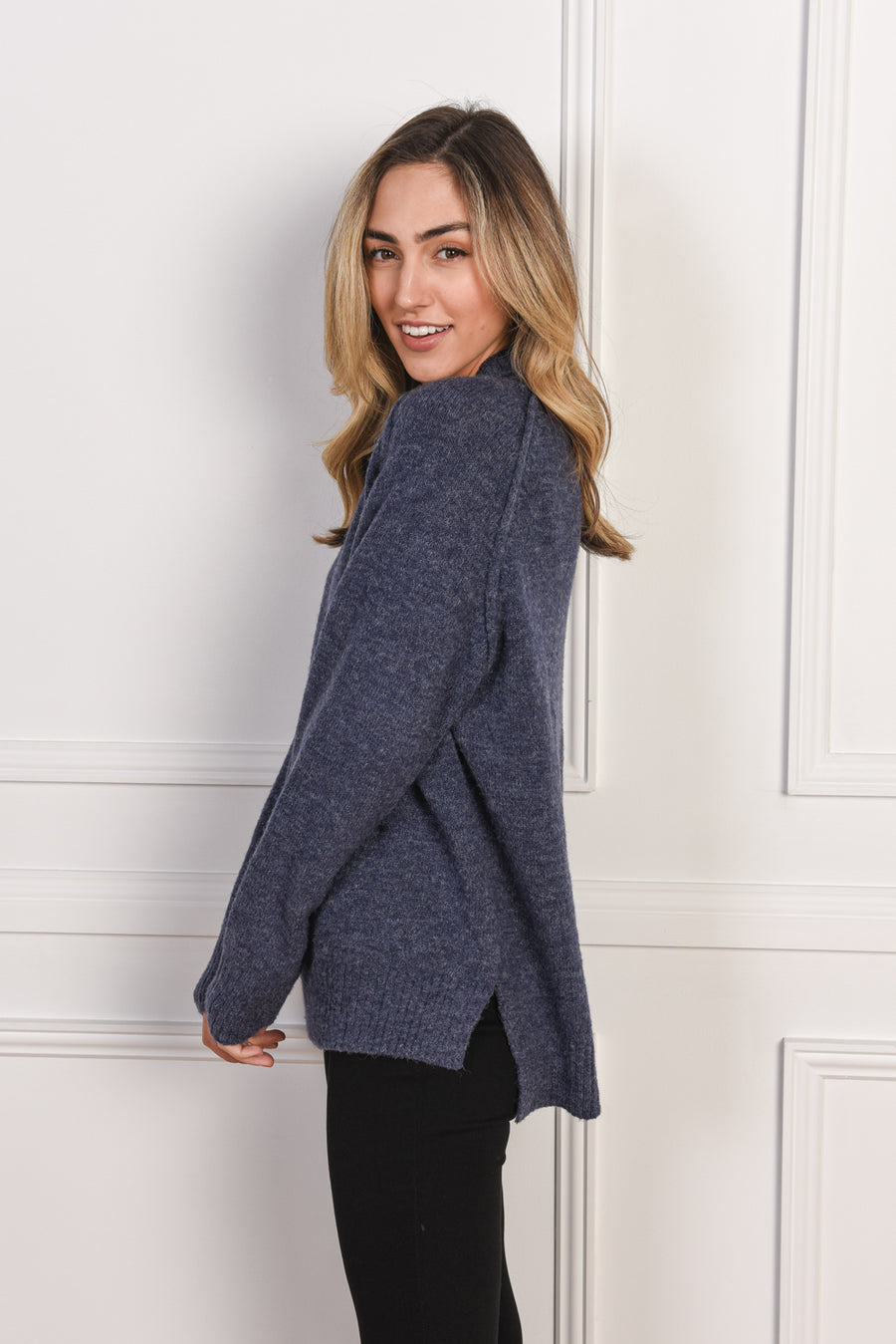 Heidi High Neck Sweater | Navy - Gray Label