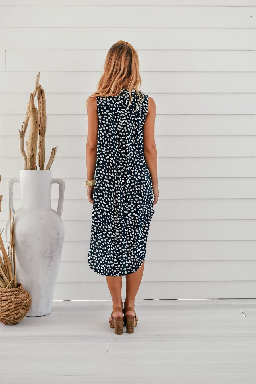 Addi Shirt Dress | Navy Spot DRESS Gray Label