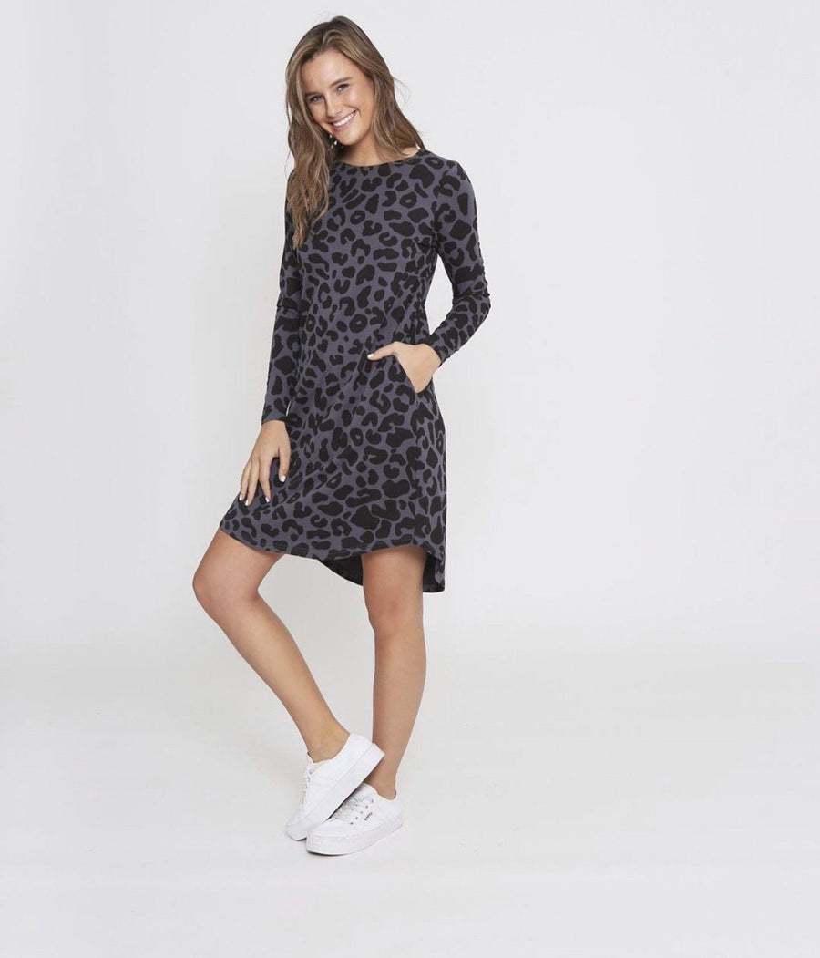 Addison Dress | Gunmetal Grey Leopard Dress Gray Label