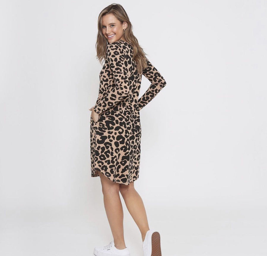Addison Dress | Tan Leopard Dress Gray Label