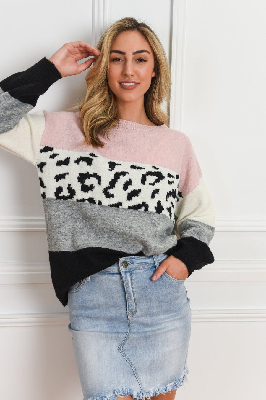 Ally Leopard Sweater | Blush Knit Gray Label