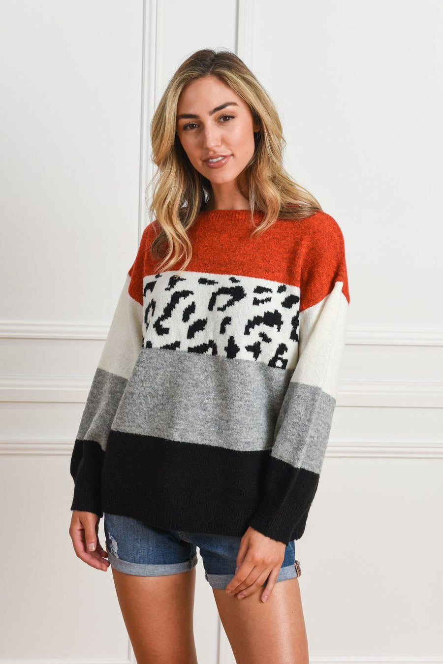 Ally Leopard Sweater | Red Leopard Knit Gray Label
