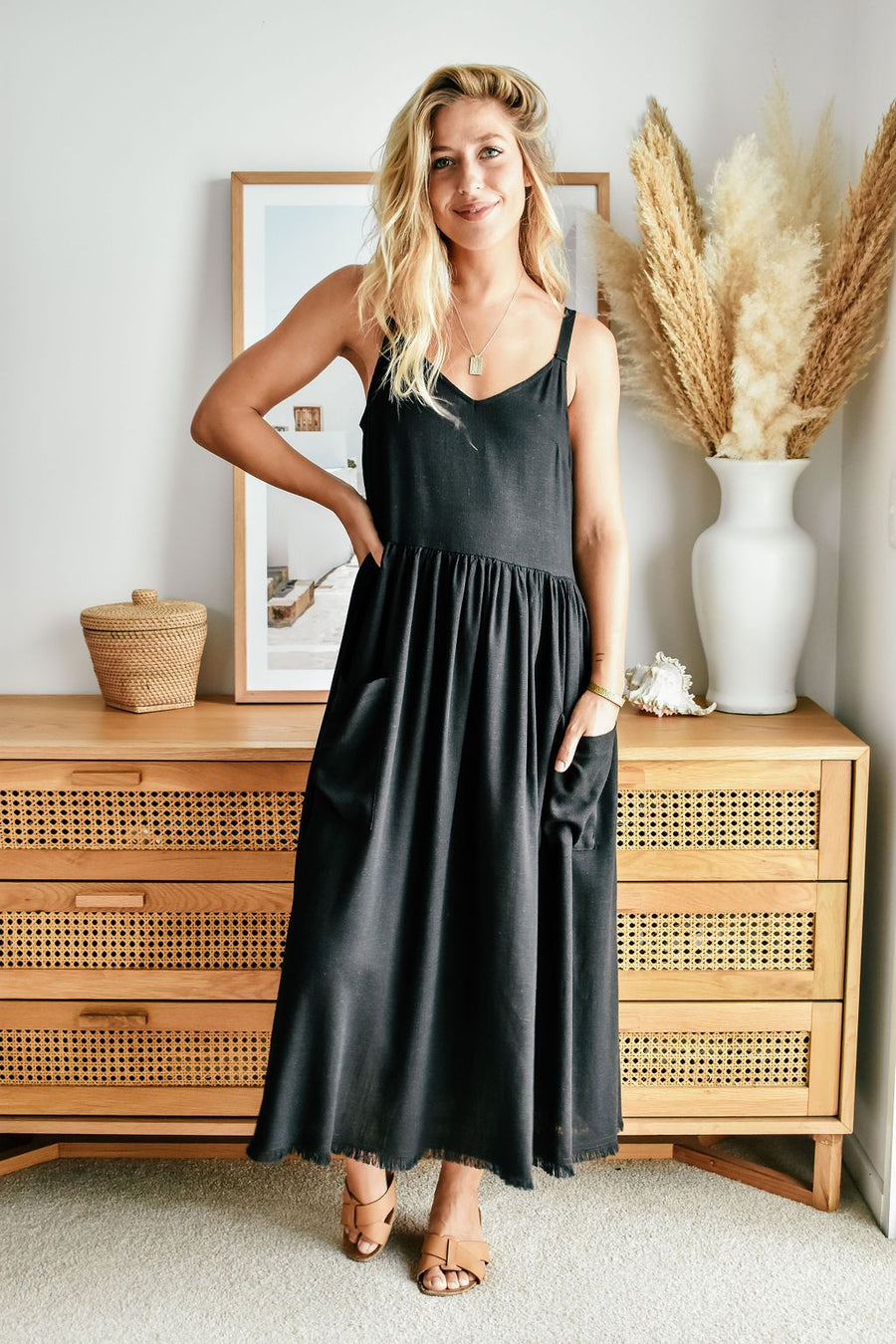 Arizona Linen Dress | Black - Gray Label DRESS Gray Label