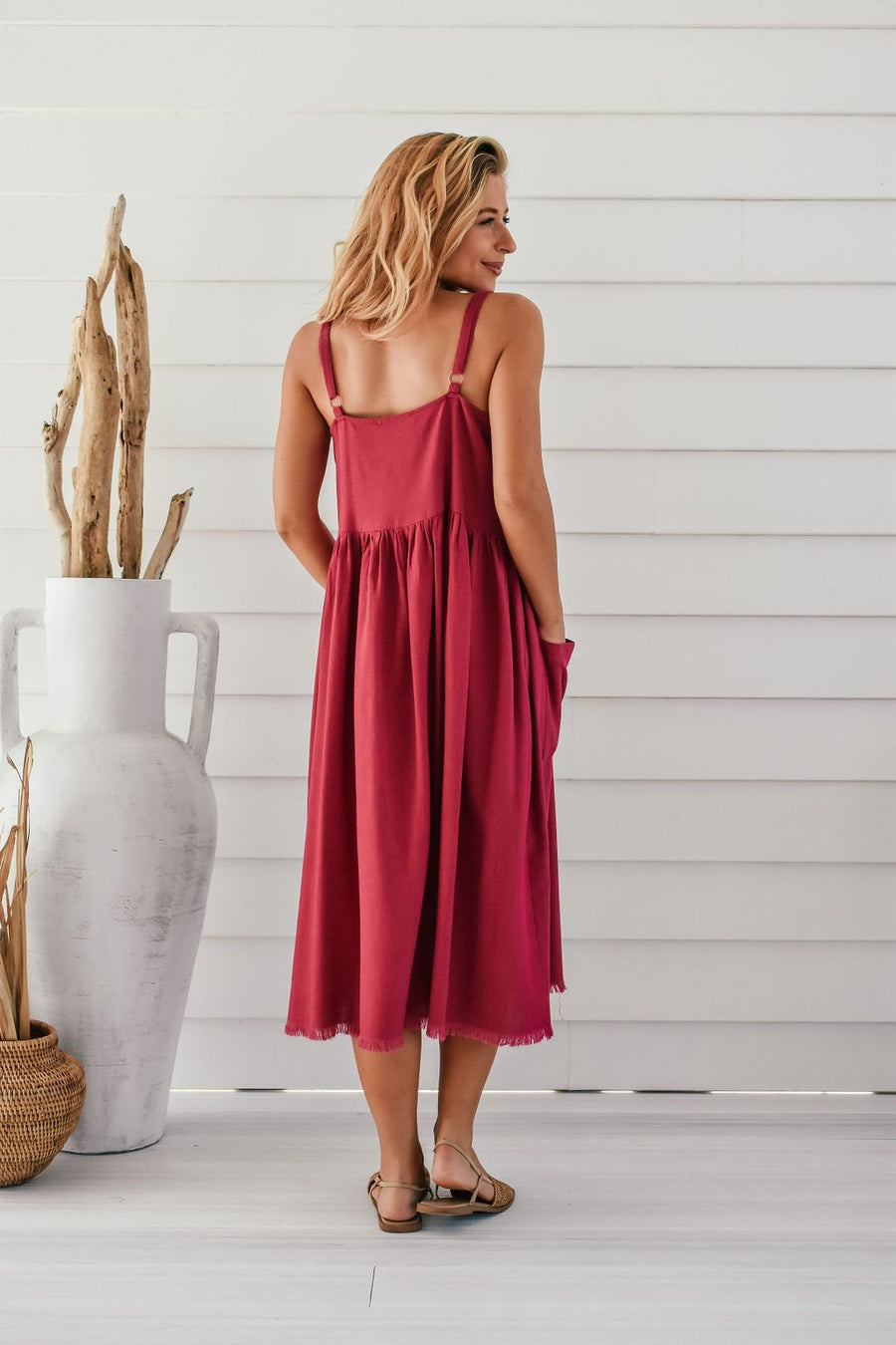 Arizona Linen Dress | Fuschia - Gray Label DRESS Gray Label