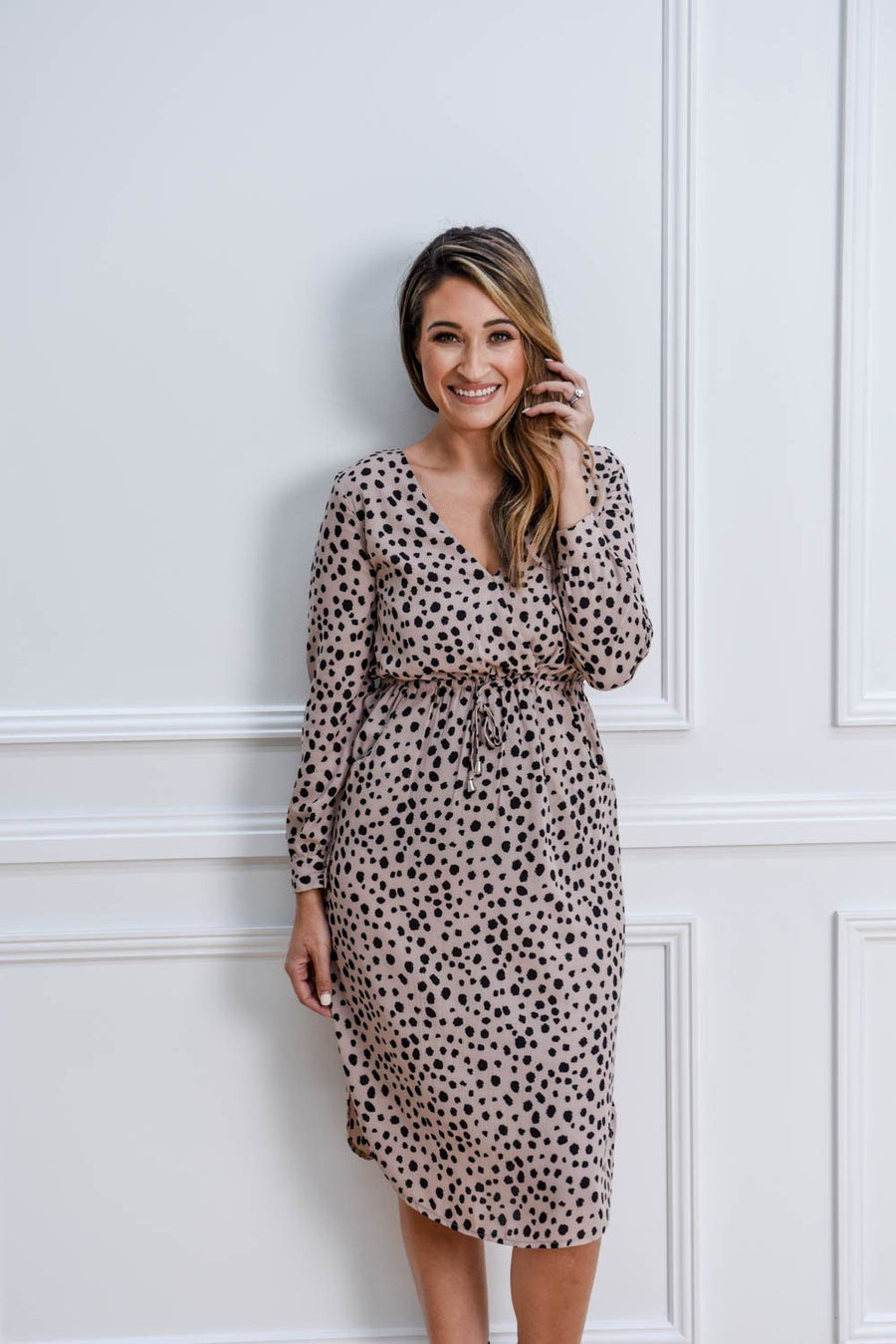 Ava Dress | Blush Leopard Dress Gray.Label