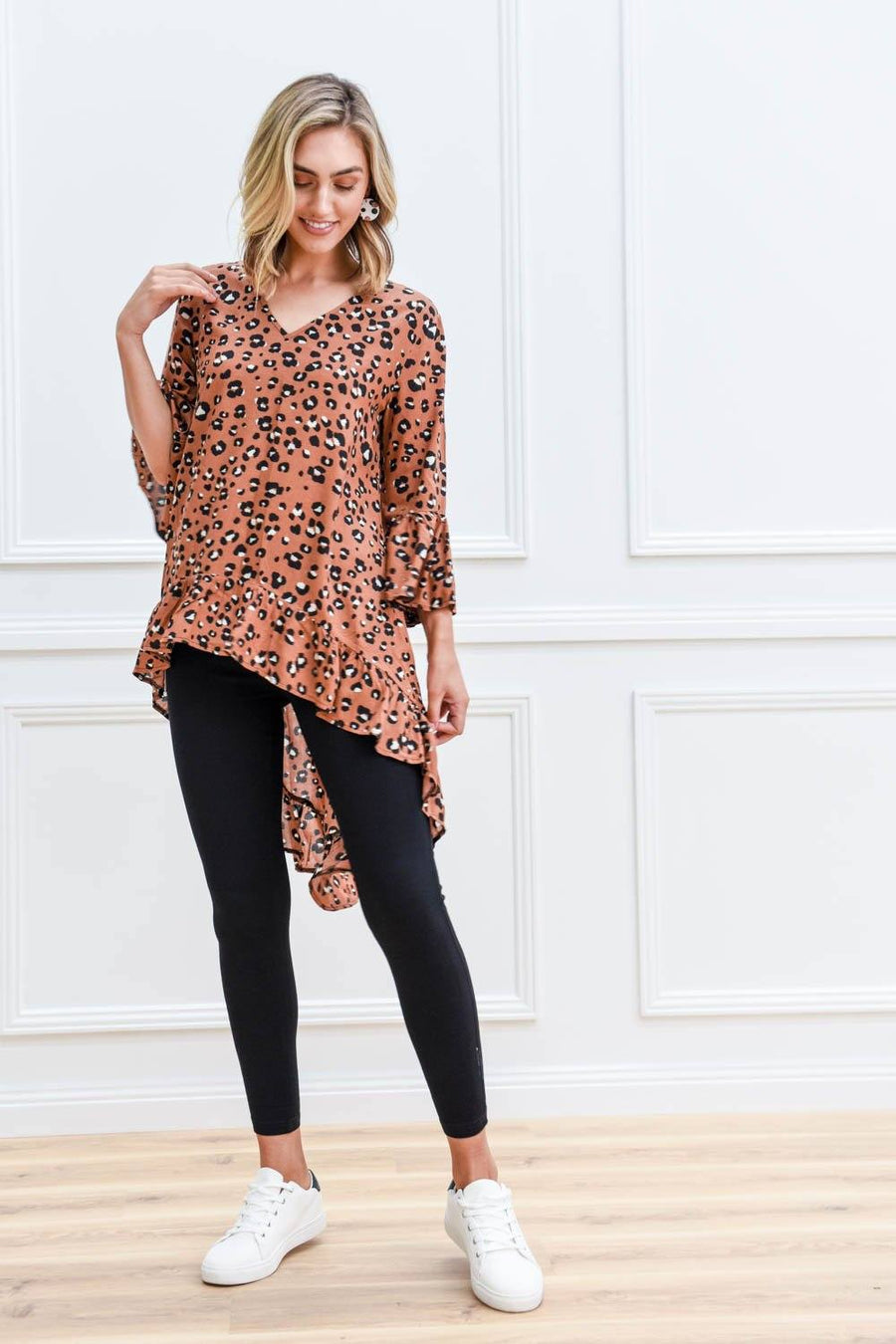 Ava Top | Brown Leopard Top Gray Label