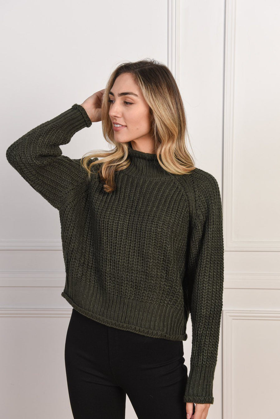 Belinda Knit | Khaki Top Gray Label