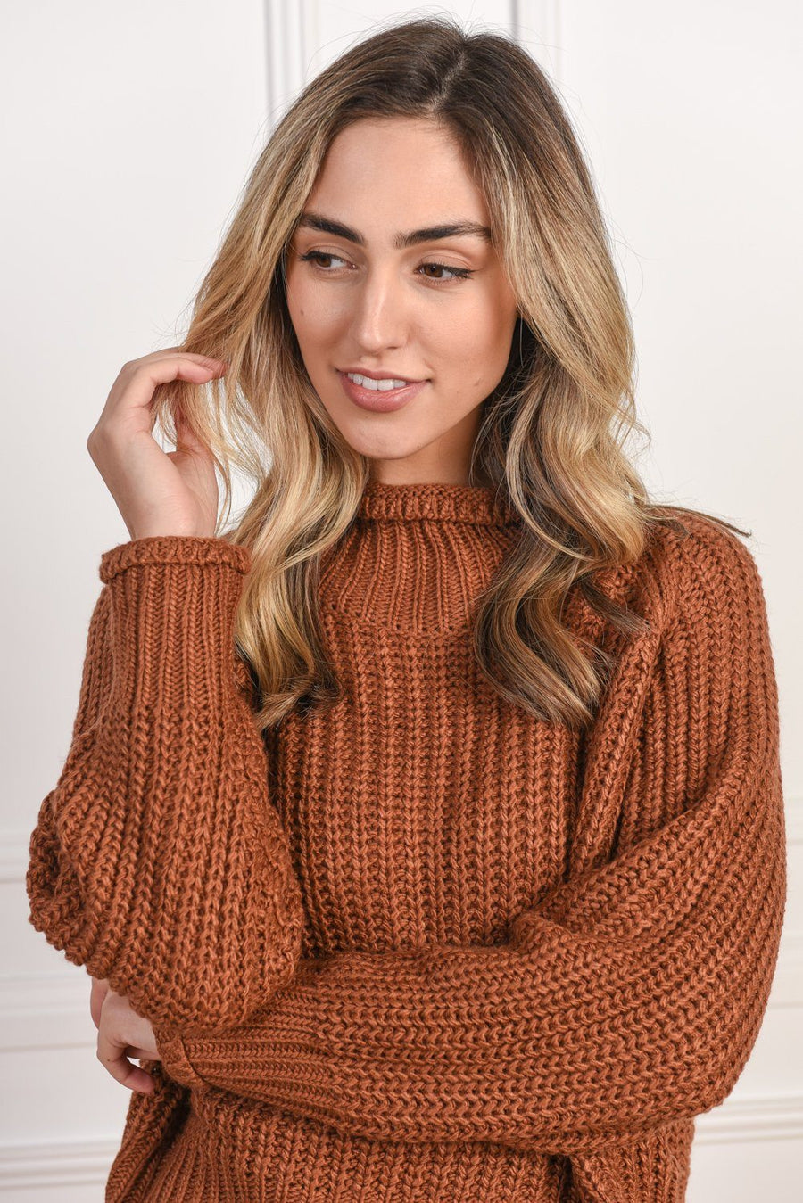 Belinda Knit | Tan Top Gray Label