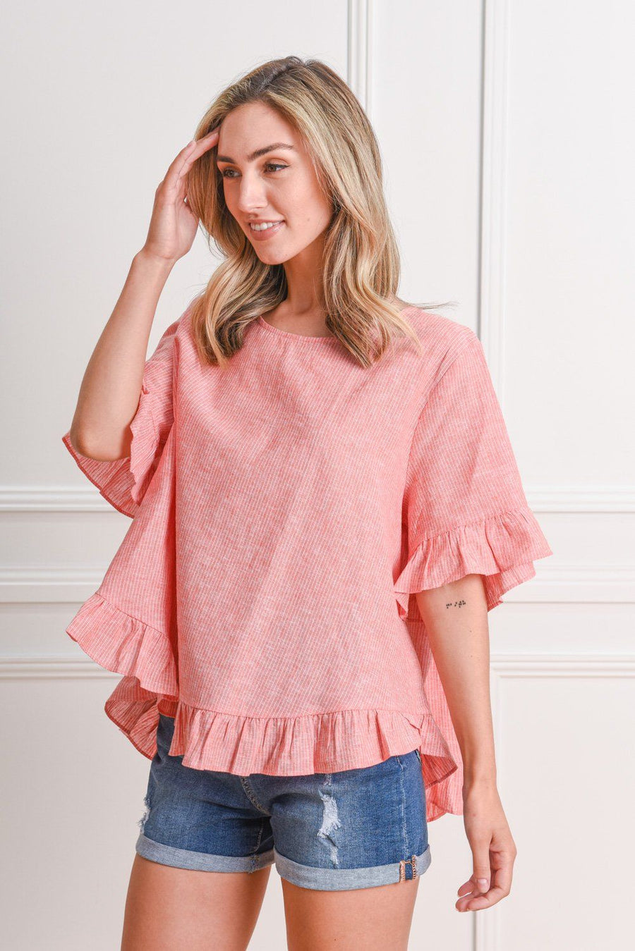 Belle Top | Coral Stripe Top Gray.Label