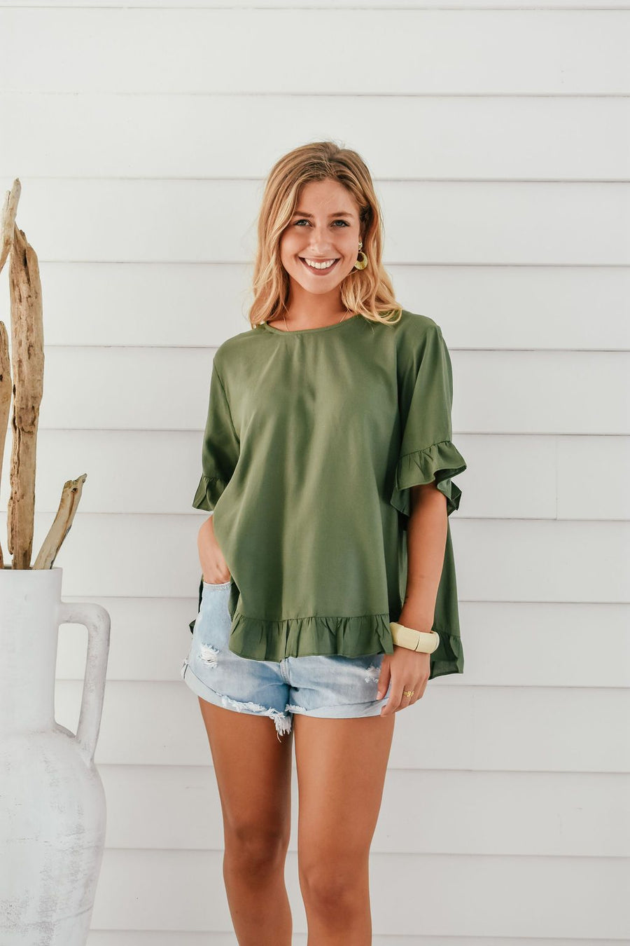 Belle Top | Green - Gray Label Top Gray.Label
