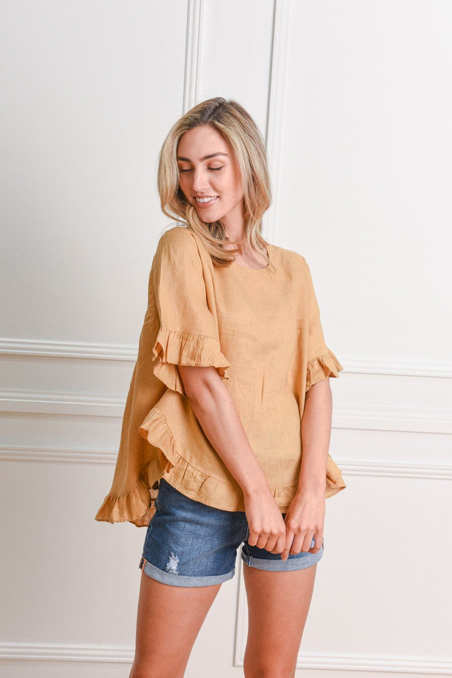 Belle Top | Mustard Top Gray.Label