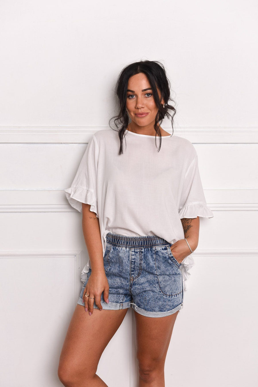 Belle Top | White - Gray Label Top Gray.Label