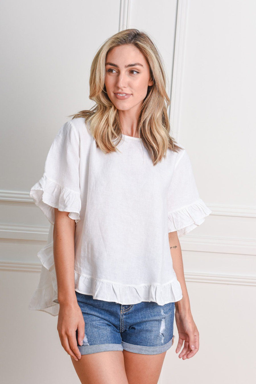 Belle Top | White Top Gray.Label