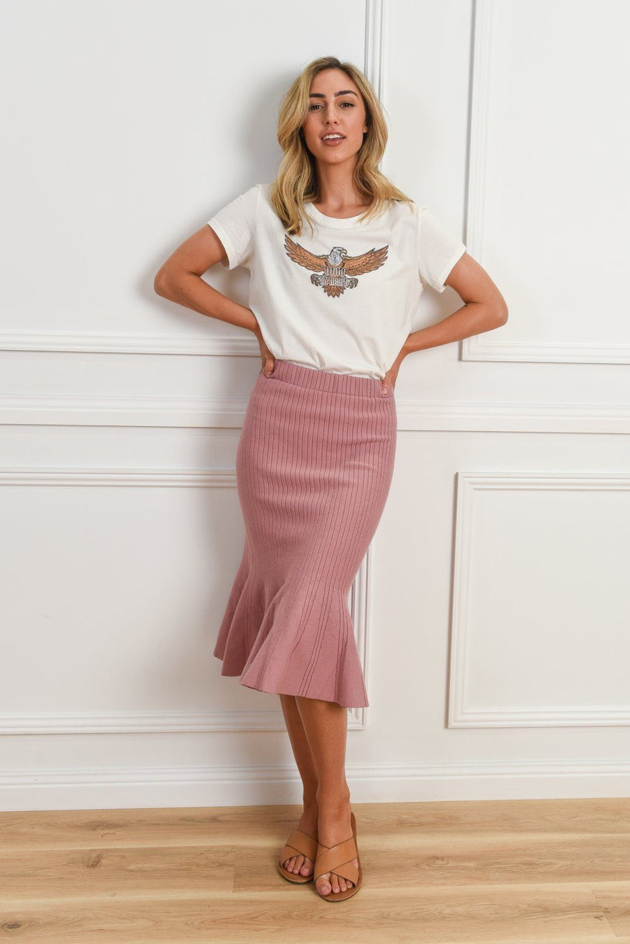 Bianca Ribbed Skirt | Pink Skirt Gray.Label
