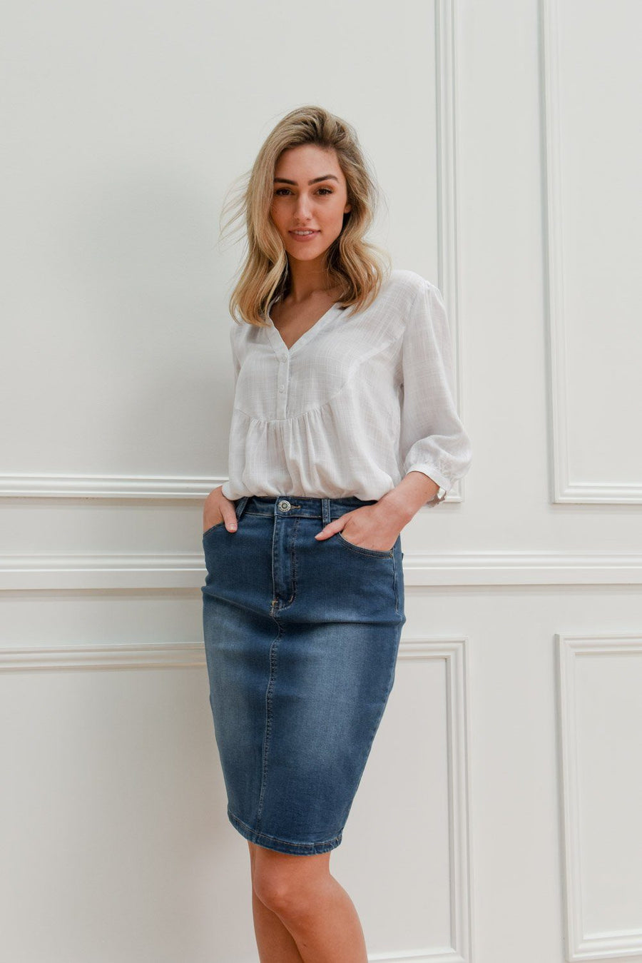 Blaire Skirt | Blue Denimn Skirt Gray Label