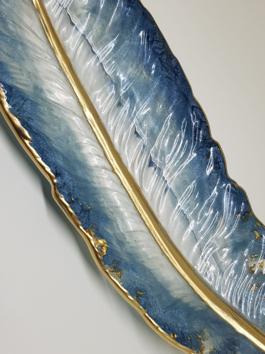 Blue Feather Trinket Dish Feather Trinket Linart Designs