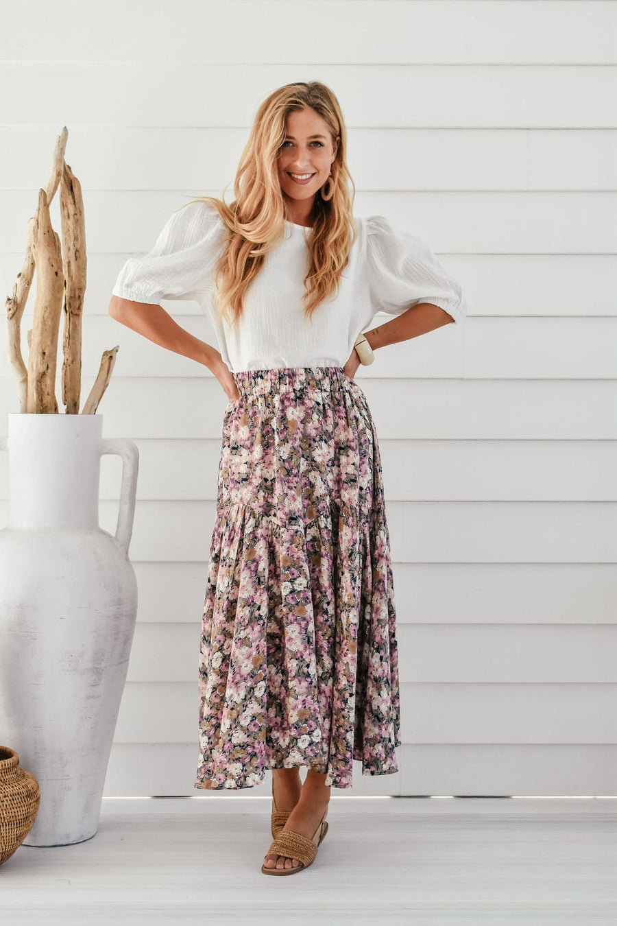 Cassia Floral Skirt Skirt Gray Label