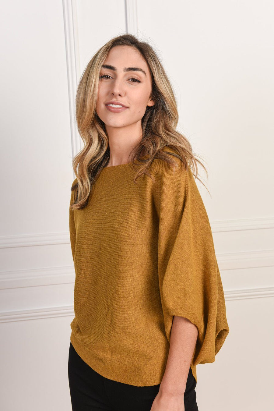 Charlotte Knit | Mustard Top Gray Label