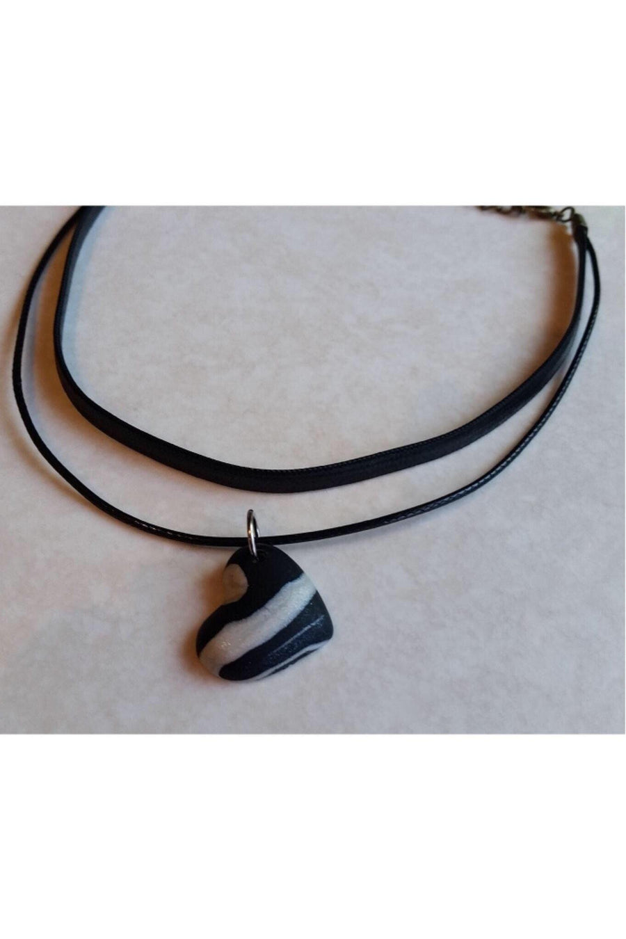 Choker Necklace | Carly Choker With Polymer Clay Heart Necklace Gray.Label