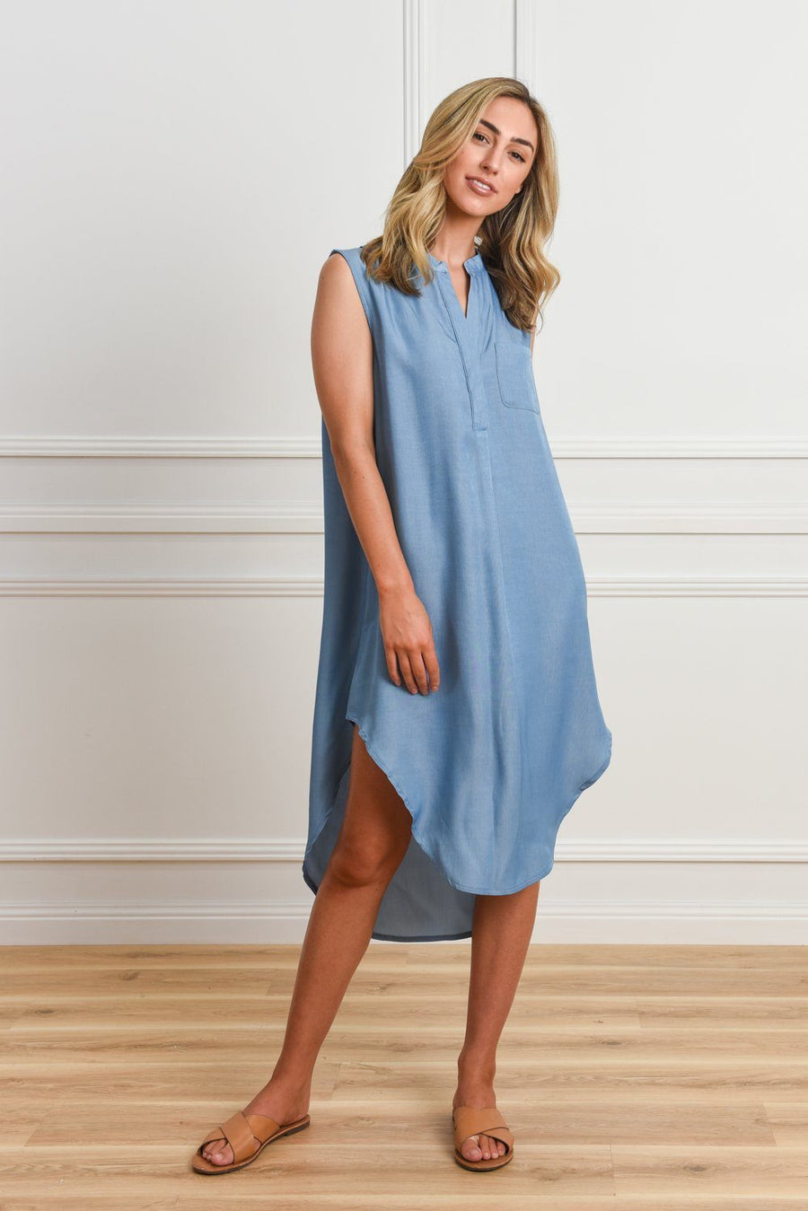 Cindy Shirt Dress | Blue Denimn DRESS Gray.Label