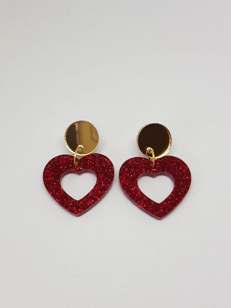Dangles | Bonnie Hearts - With Gold Mirror Studs Earrings Gray.Label