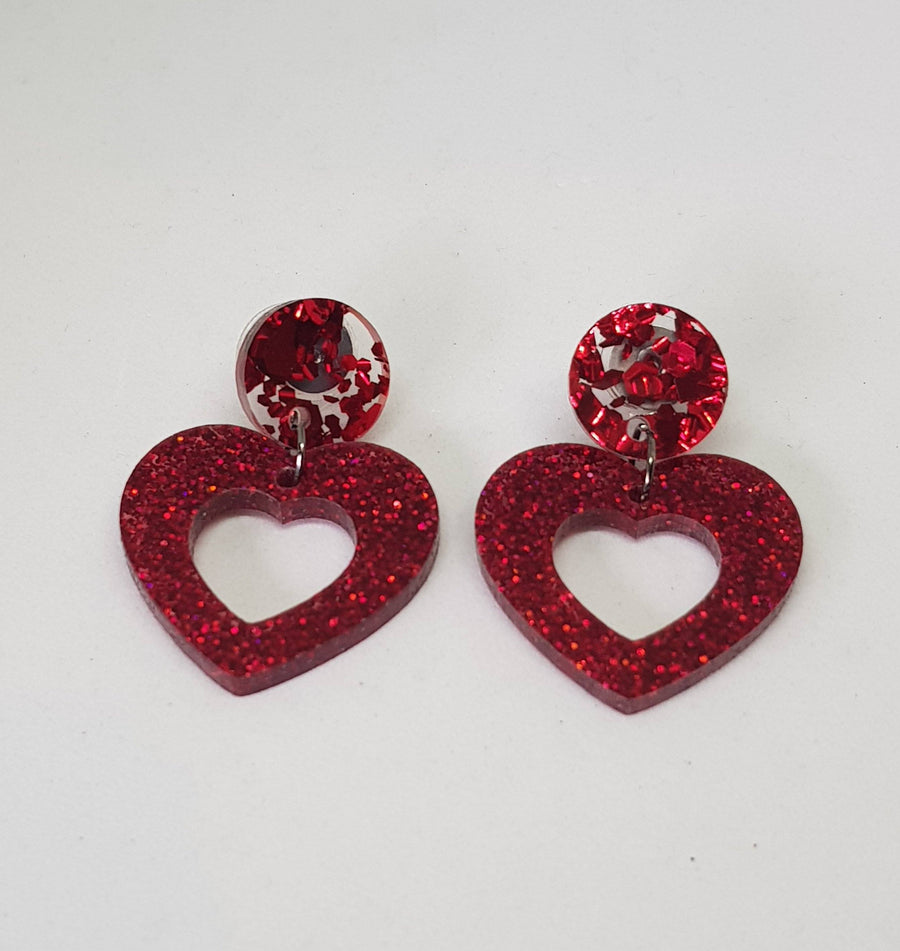 Dangles | Bonnie Hearts - With Red Studs Earrings Green Avenue