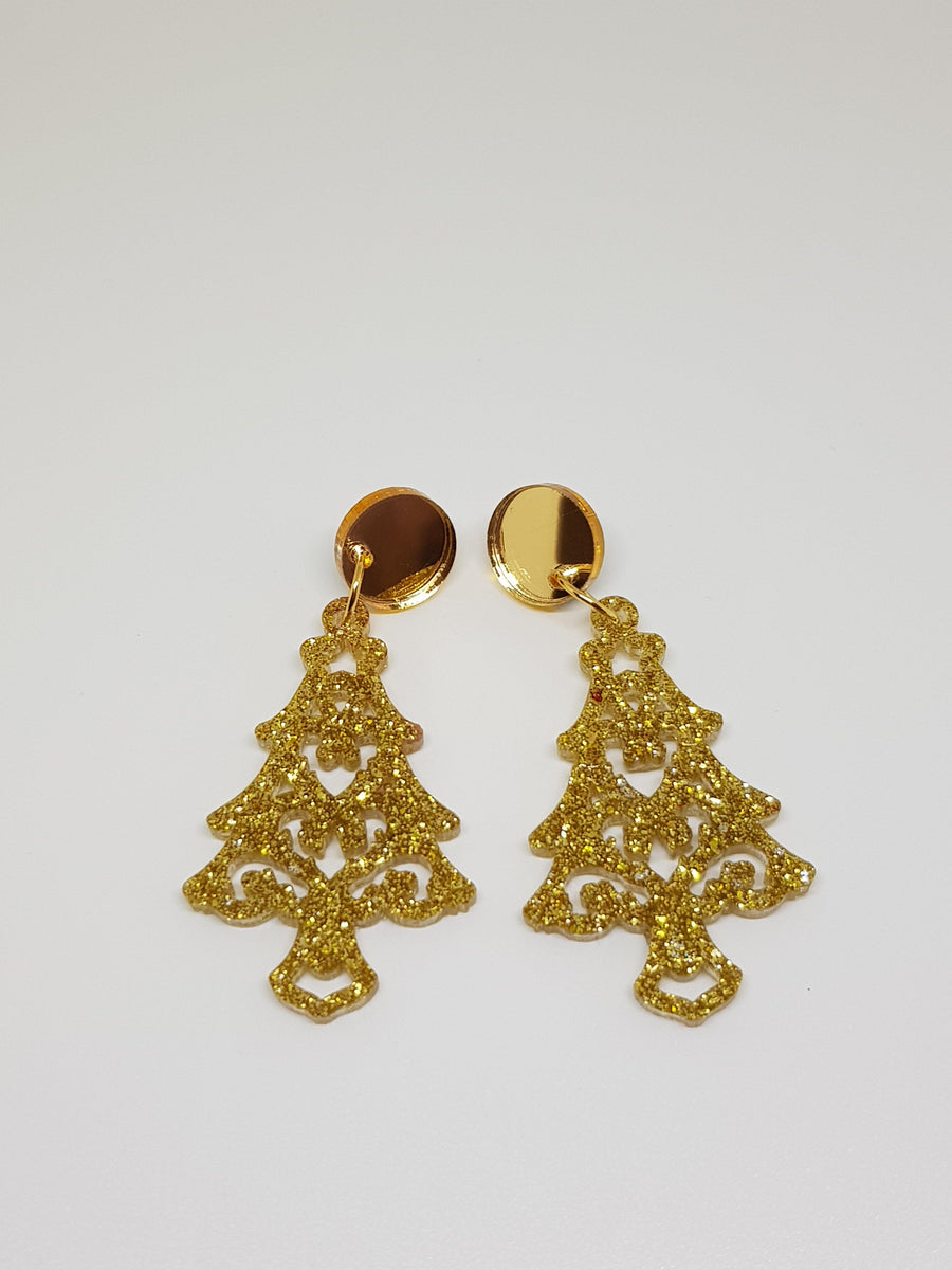 Dangles - Christmas Trees - Gold Earrings Linart Designs