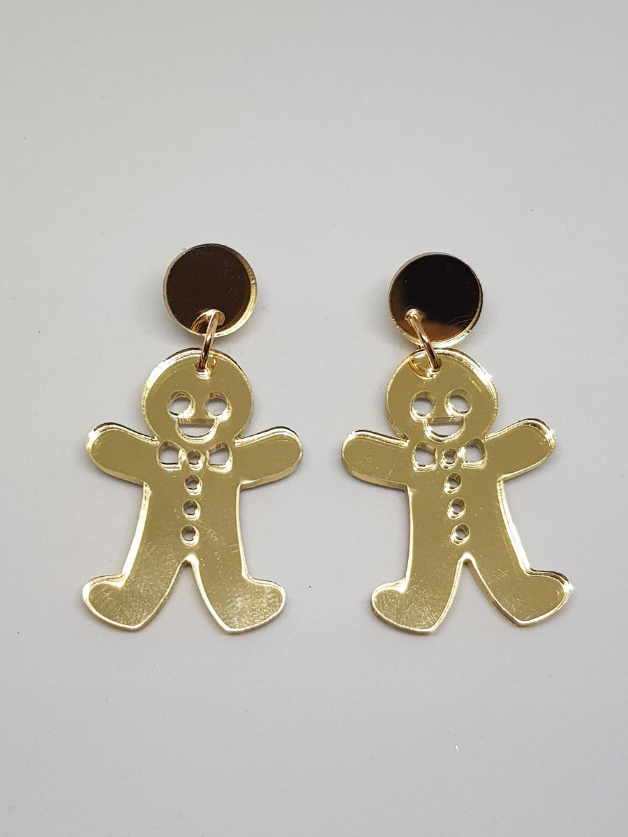 Dangles | Gold Gingerbread Men Earrings Green Avenue