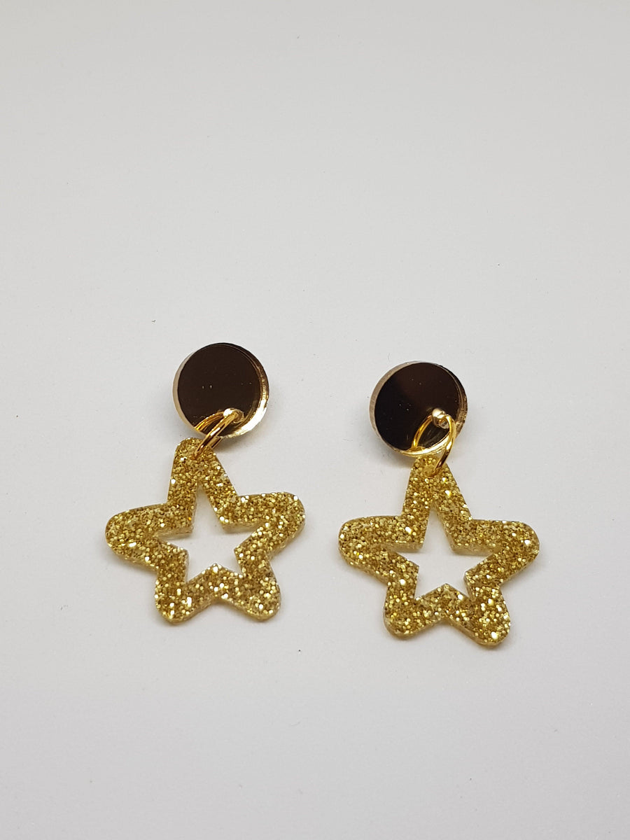 Dangles | Gold Stars Earrings Green Avenue