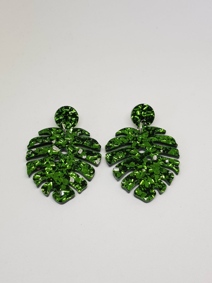 Dangles | Green Monstera Earrings Gray.Label