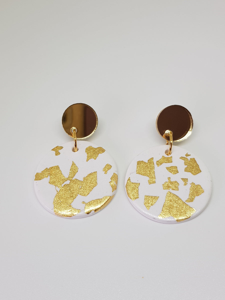 Dangles | Jessie - White with Gold Earrings Linart Designs