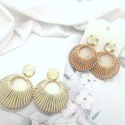 Dangles | Nadine Faux Leather - Cream Earrings Linart Designs
