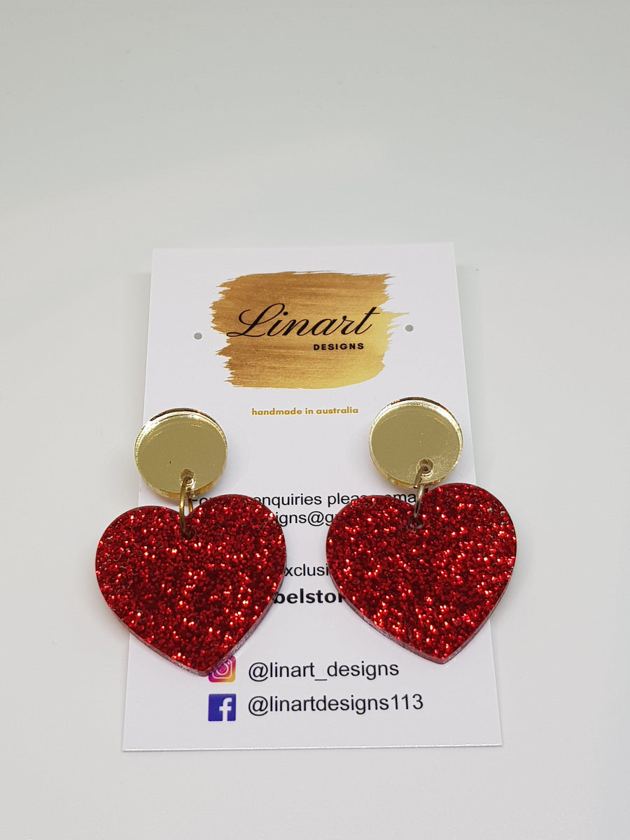 Dangles | Red Hearts with Gold Earrings Linart Designs