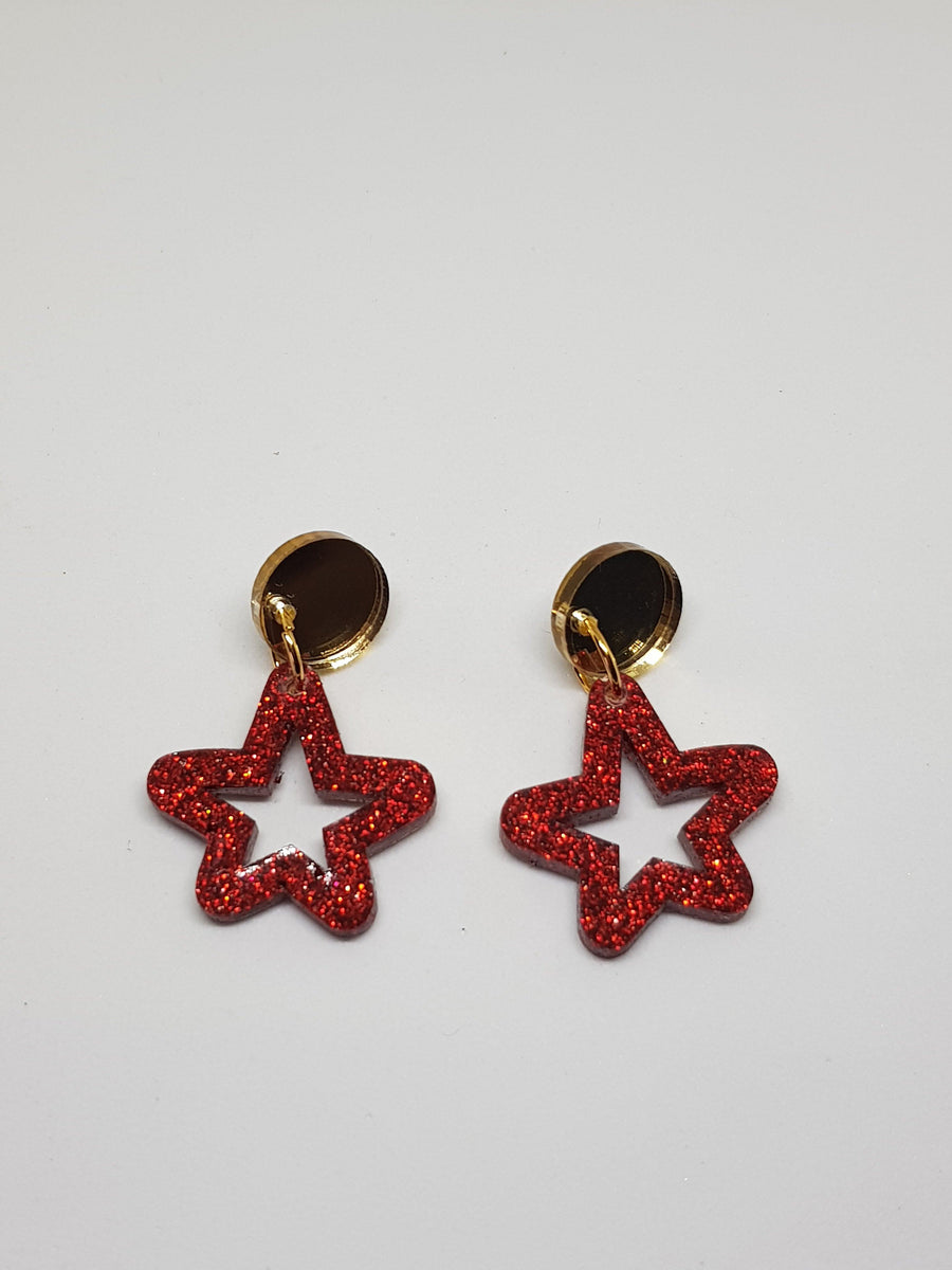 Dangles | Red Stars Earrings Green Avenue