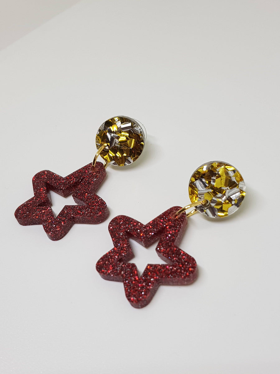 Dangles | Red Stars with Gold/Silver Studs Earrings Linart Designs