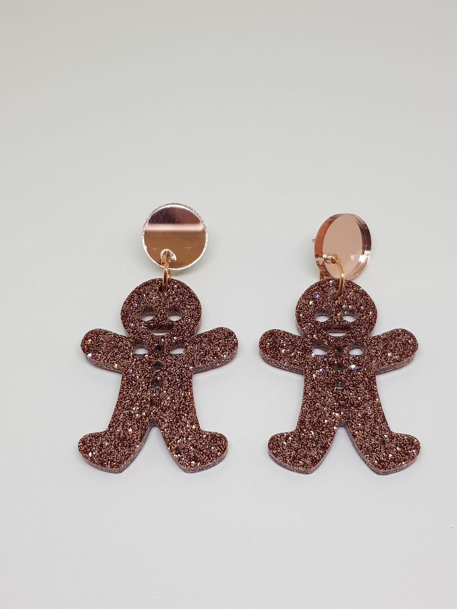 Dangles | Rose Gold Glitter Gingerbread Men Earrings Linart Designs