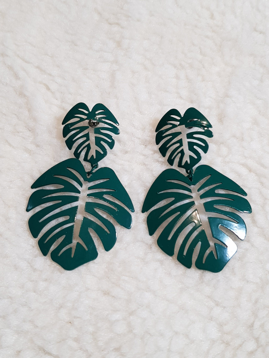 Dangles | Statement Monstera - Green Earrings Linart Designs