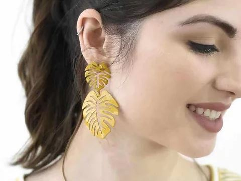 Dangles | Statement Monstera - Yellow Earrings Linart Designs