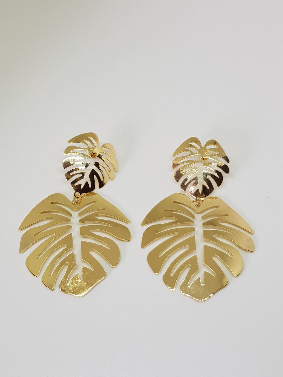 Dangles | Statement Monsteras - Gold Earrings Linart Designs