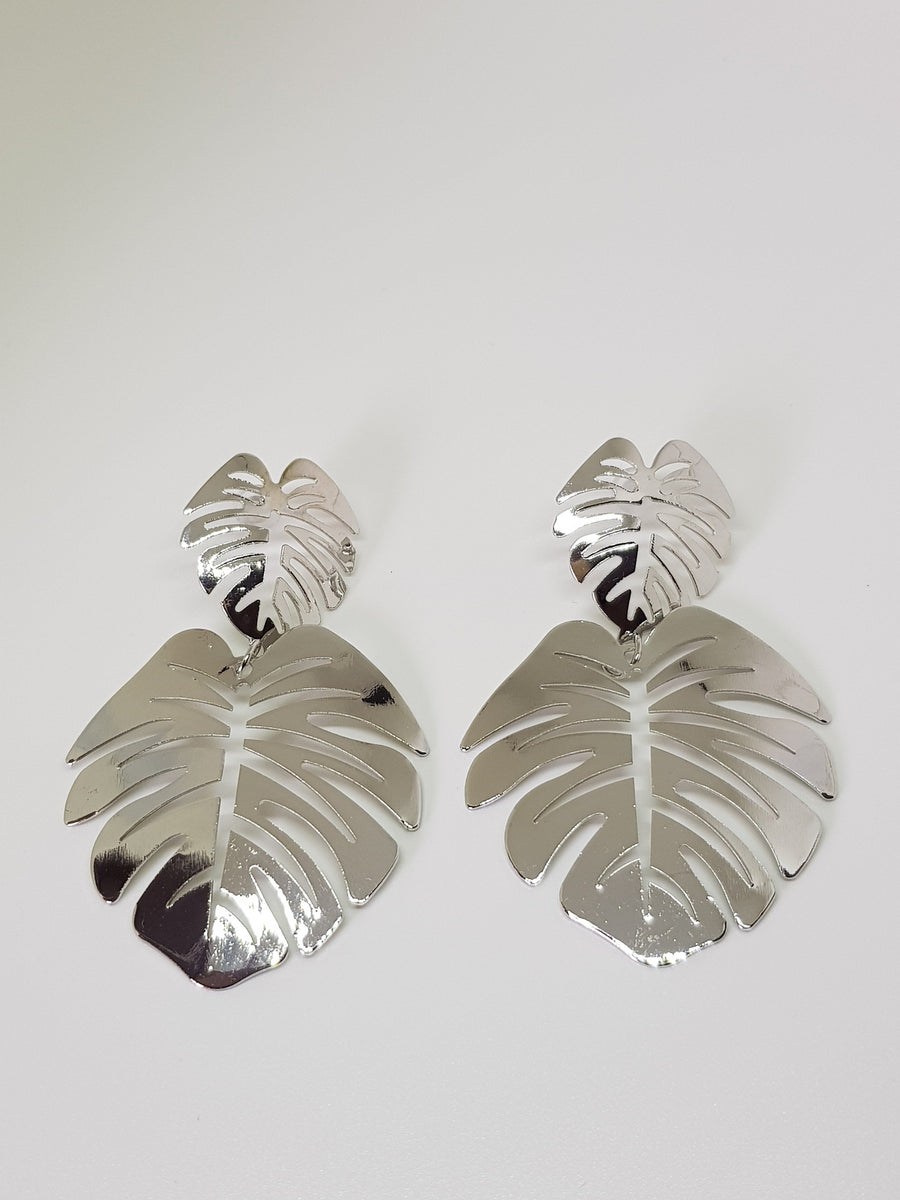Dangles | Statement Monsteras - Silver Earrings Linart Designs