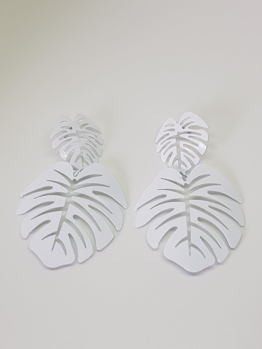 Dangles | Statement Monsteras - White Earrings Linart Designs