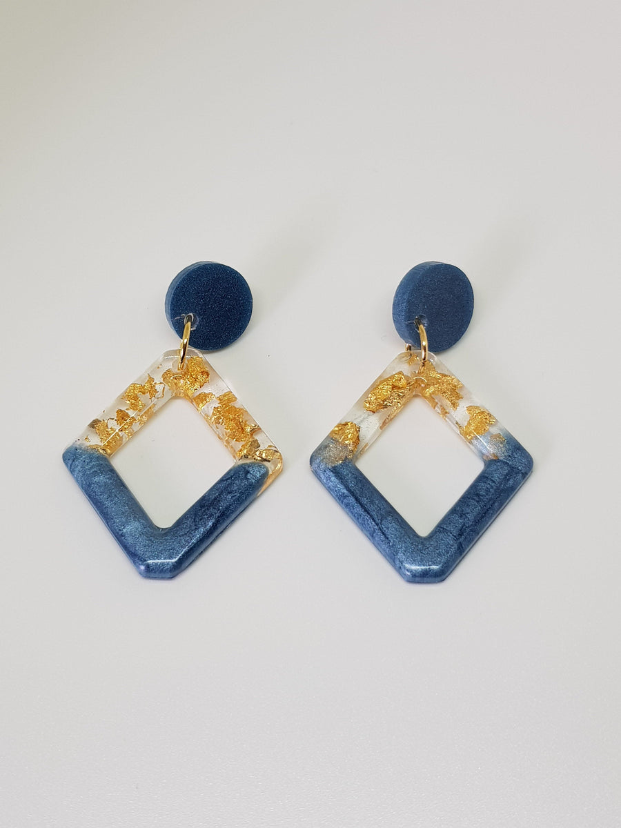 Dangles | Tess Blue Diamond Shape Earrings Linart Designs