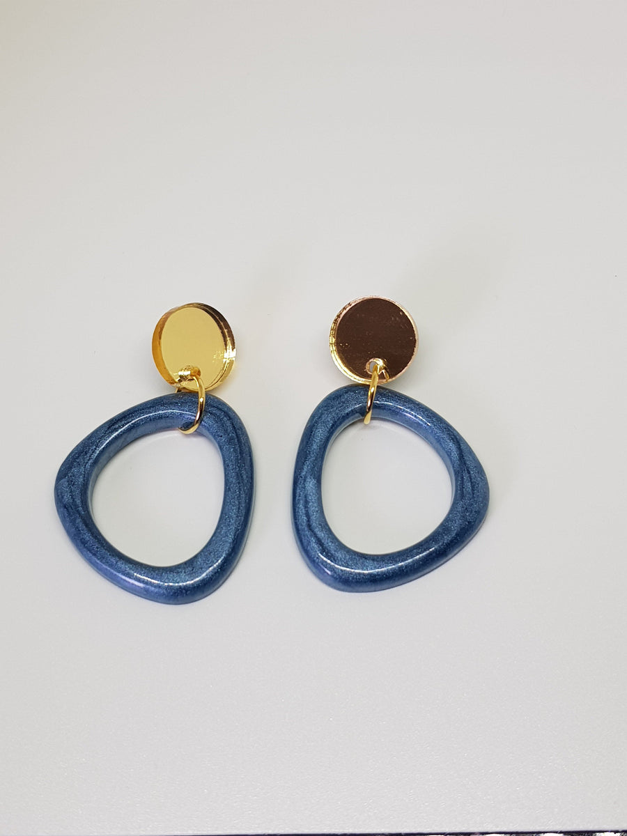 Dangles | Tess Blue Loops Earrings Linart Designs