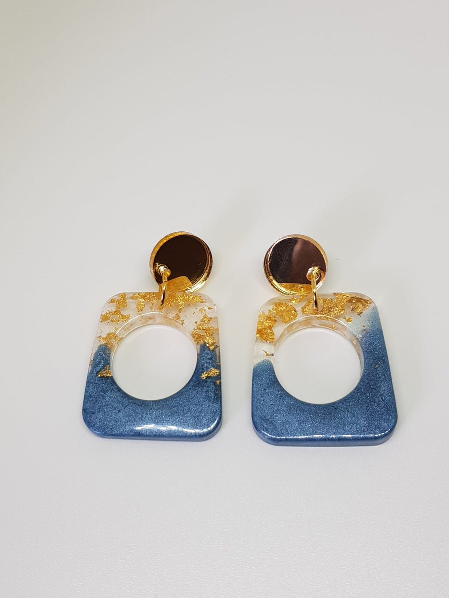 Dangles | Tess Blue Squares Earrings Linart Designs