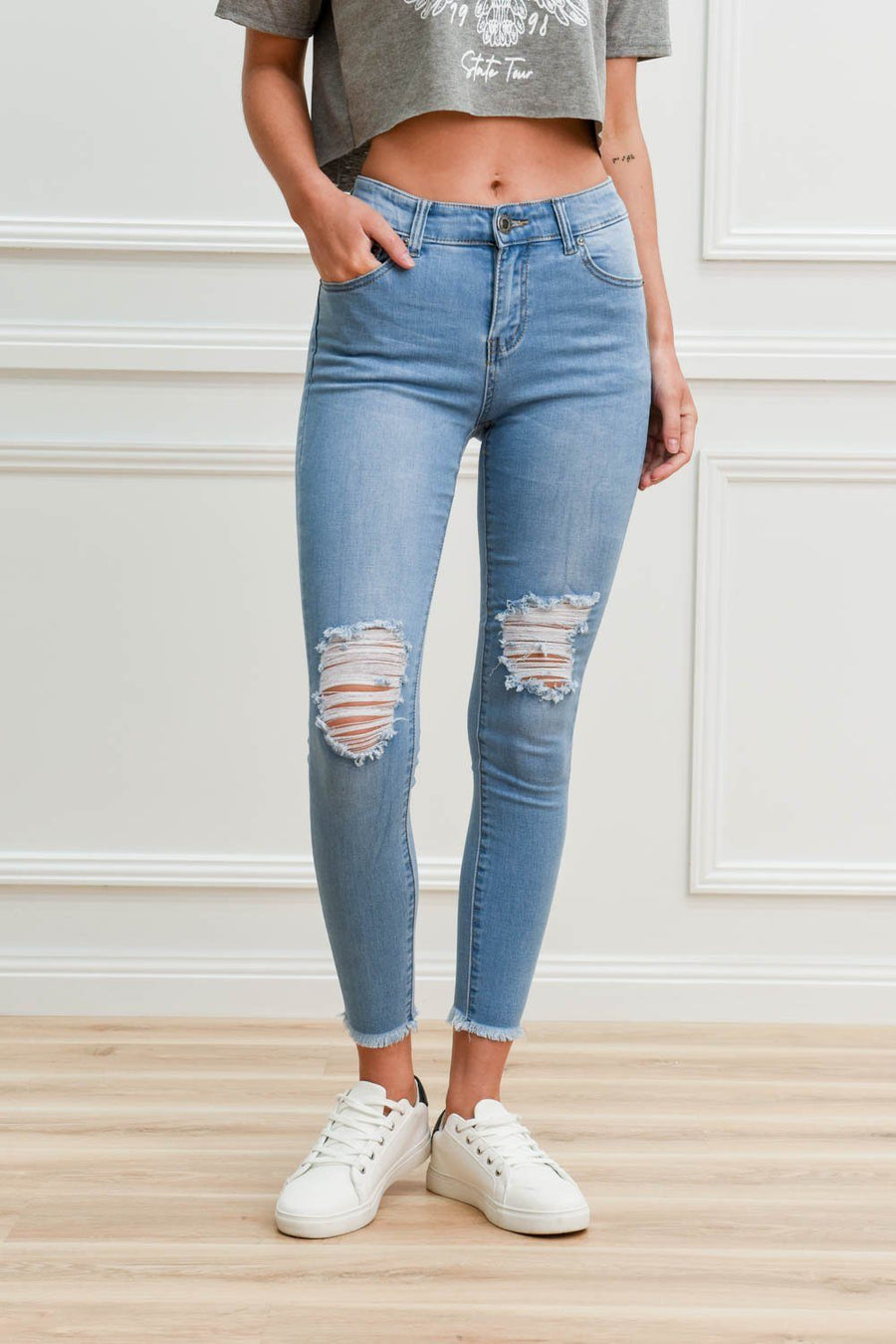 Demi Ripped Jean | Light Blue Jeans Gray Label