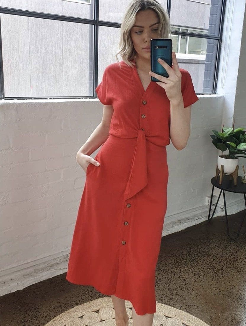 Duchess Dress | Coral Red Dress Gray Label