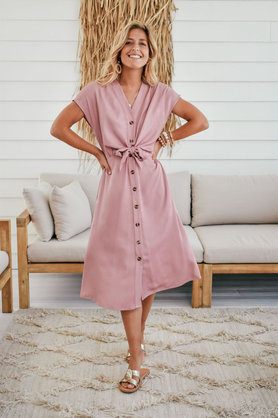 Duchess Dress | Dusty Pink Dress Gray Label